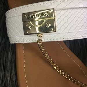 Guess Shoes - Guess White and Gold Sandals Size 7.5 NEVER WORN